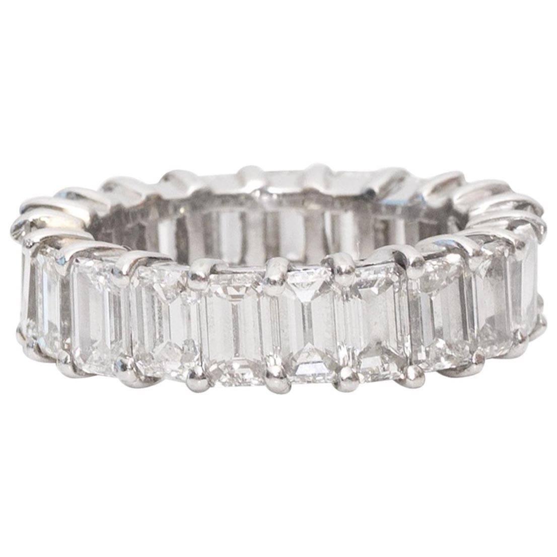 10 Carat Emerald-Cut Diamonds Platinum Eternity Band Ring