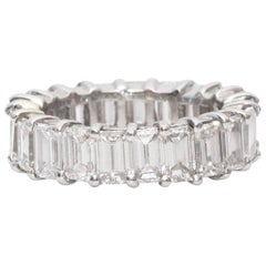10 Carat Emerald-Cut Diamonds Platinum Eternity Band Ring