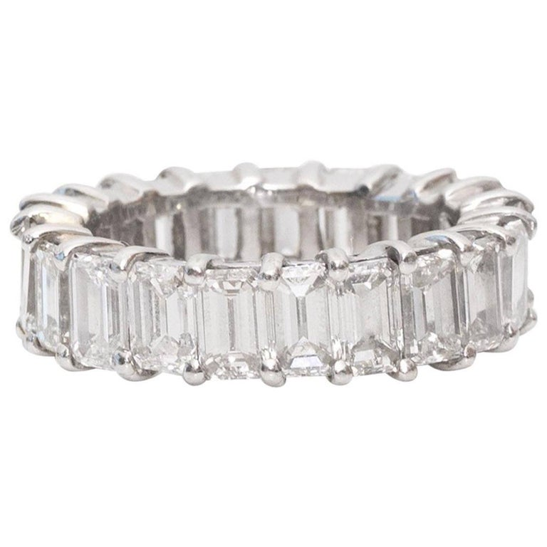 10 Carat Emerald-Cut Diamonds Platinum Eternity Band Ring For Sale