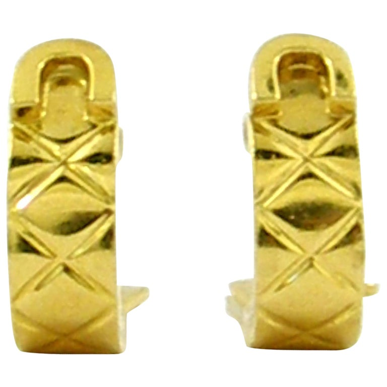 Chanel Yellow Gold Earrings For Sale