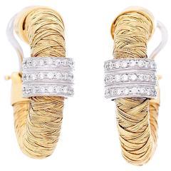 Roberto Coin Diamond Gold Basketweave Hoop Earrings