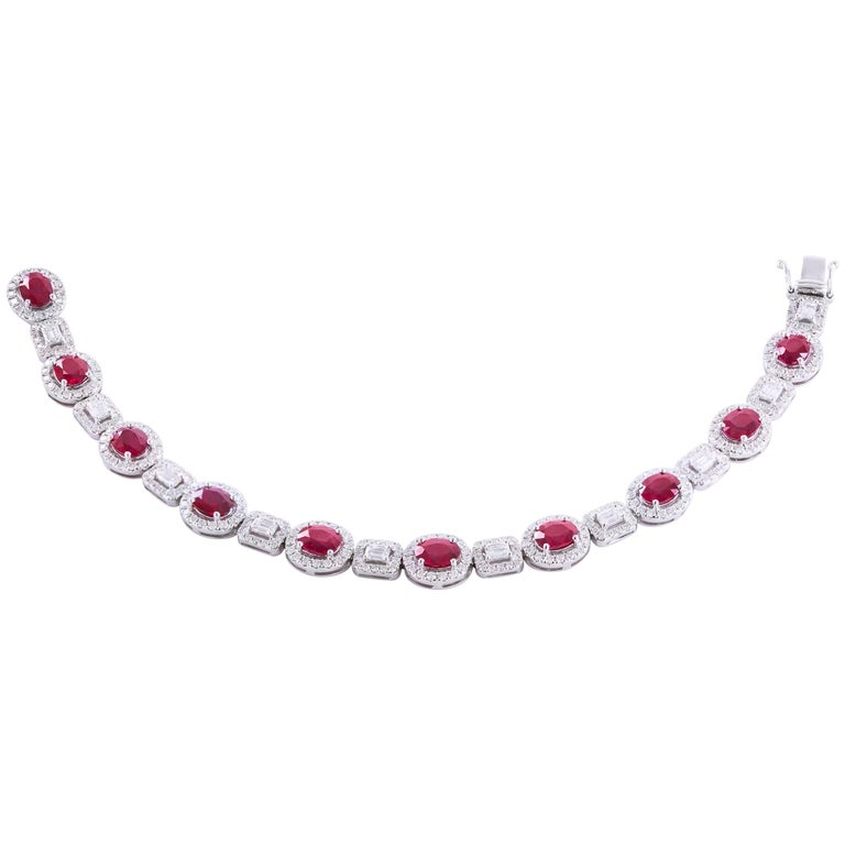 Ruby Emerald Cut Diamonds White Gold Tennis Bracelet For Sale