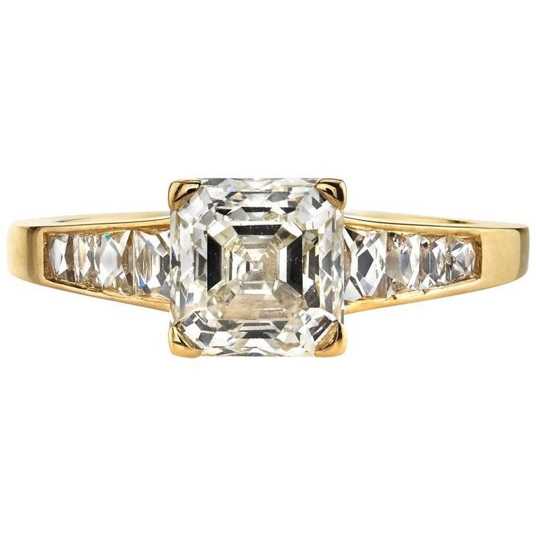 Asscher Cut Diamond Yellow Gold Engagement Ring 1