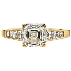Asscher Cut Diamond Yellow Gold Engagement Ring