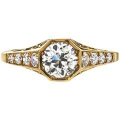 Old European Cut Diamond oxidized yellow gold Ring