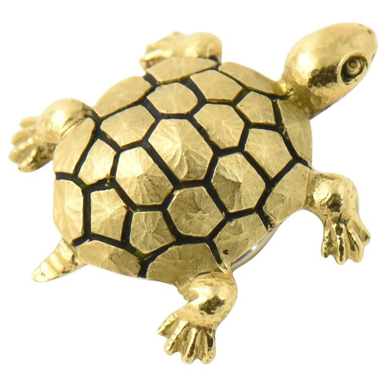Enamel Gold Turtle Hat Hair or Lapel Pin Brooch