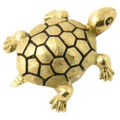 Enamel Gold Turtle Hat Hair Veil or Lapel Pin Brooch