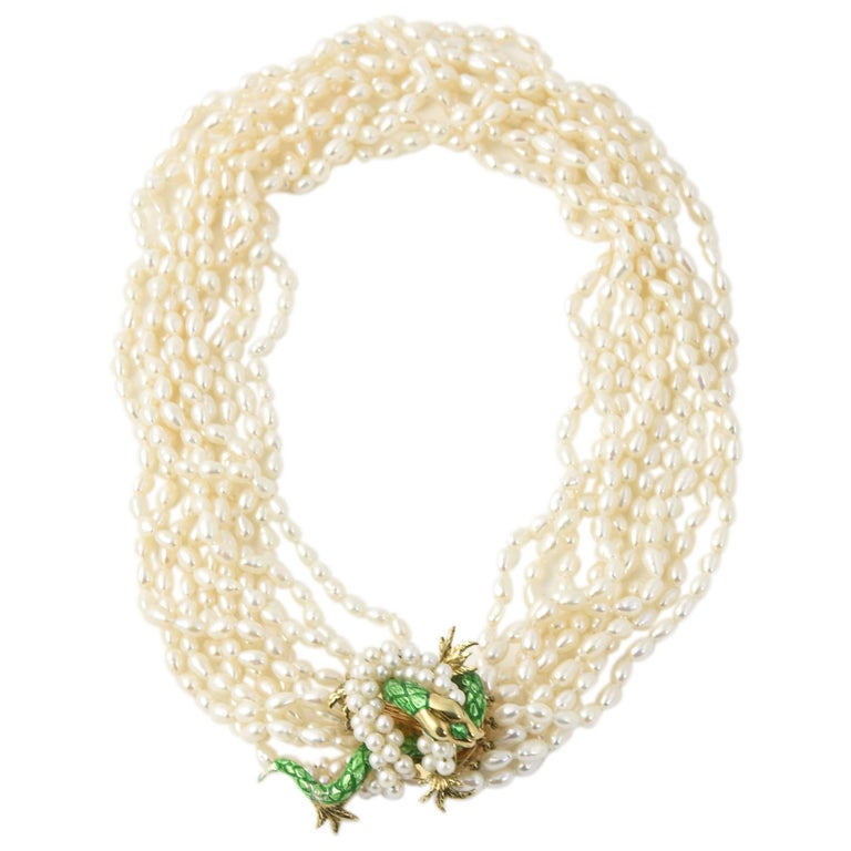 Enamel and Pearl Gold Snake Detachable Brooch on Ten Strand Pearl Necklace
