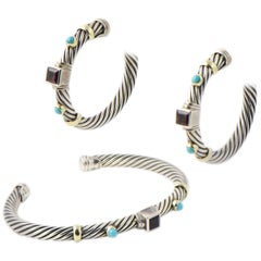 David Yurman Turquoise and Garnet Silver Renaissance Earrings and Bracelet Set