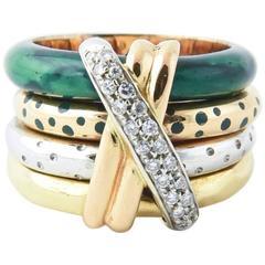 Nouvelle Bague Connected Four Bands Enamel Diamond Gold X Ring