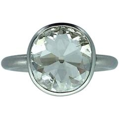 2.23 Carats Old Mine Cut Diamond Platinum Contemporary Ring