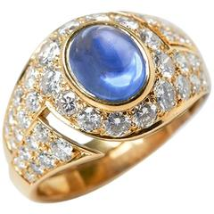 Bulgari Gold 18 Karat Yellow Gold Cabochon Sapphire & Diamond Cocktail Ring