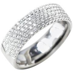 Tiffany & Co. White Gold Five Row 0.90 Carat Diamond Metro Band Ring