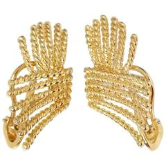 Tiffany & Co. 18 Karat Yellow Gold Rope Design Schlumberger Earrings