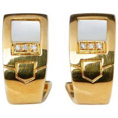 Audemars Piguet Yellow Gold Mabe Pearl Diamond Earrings