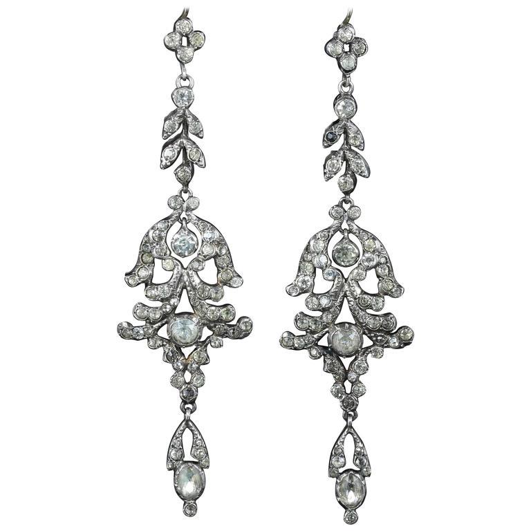 Long Paste Silver Earrings