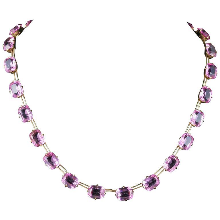 Antique Pink Paste Necklace 18 Carat Gold Gilt