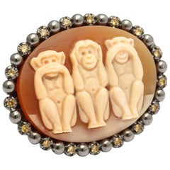 Amedeo Monkeys Cameo Ring with Yellow Sapphires