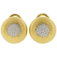 Buccellati Two Color Gold Button Earrings