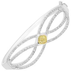 Natural Fancy Yellow Diamond Two-Color Gold Bangle Bracelet
