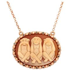 Amedeo Wise Monkeys Cameo Necklace