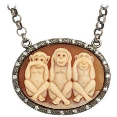 Amedeo See No Evil Cameo White Diamonds Necklace