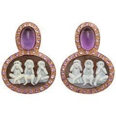 Amedeo Sardonyx Shell Cameo Couture Scimmiette Earrings