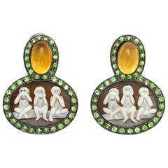 Amedeo Sardonyx Shell Cameo Couture Scimmiette Earrings