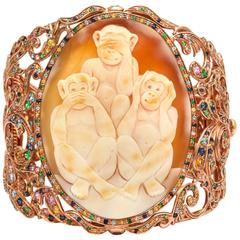 Amedeo Wise Monkeys Cameo Cuff Bracelet