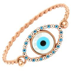 Amedeo Evil Eye mother of pearl Sterling Silver Rhodium Plated Rope Bracelet