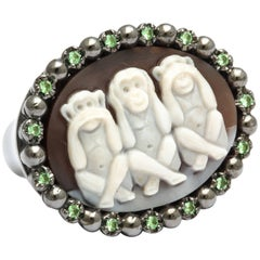 Amedeo Three Mystic Apes Cameo Ring with Tsavorites