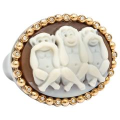 Amedeo Cameo Gold See No Evil Ring
