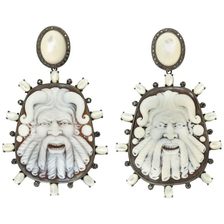 Amedeo Fauno Cameo Couture Mother-of-Pearl Earrings