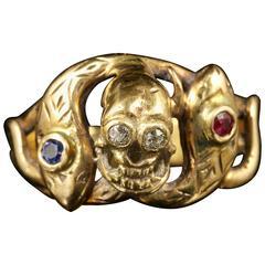 Memento Mori Ruby Sapphire Diamond Gold Skull and Snake ring
