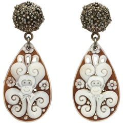 Amedeo Caviar Drops Cameo Earrings