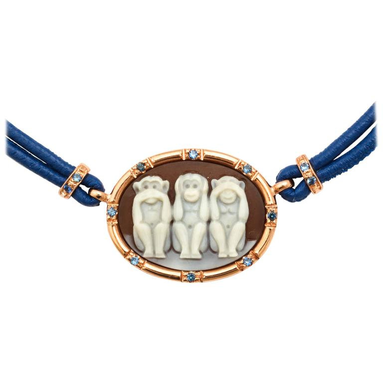 Amedeo Wise Monkeys Necklace with Sapphires 1