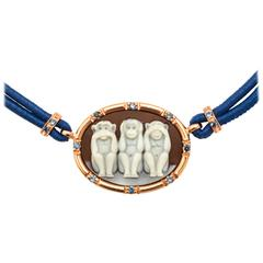 Amedeo Wise Monkeys Necklace with Sapphires