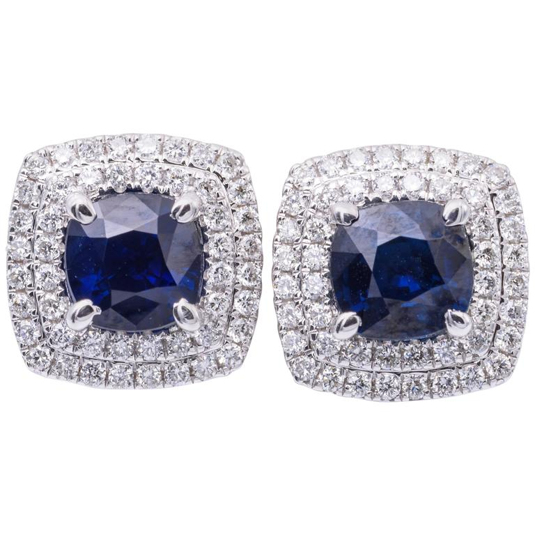 2.29 Carats Sapphires 0.55 Carats Diamonds Halo Earrings   For Sale