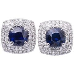 2.29 Carats Sapphires 0.55 Carats Diamonds Halo Earrings