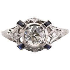 1925 Art Deco Platinum 1.00 Carat Diamond Engagement Ring with Natural Sapphires