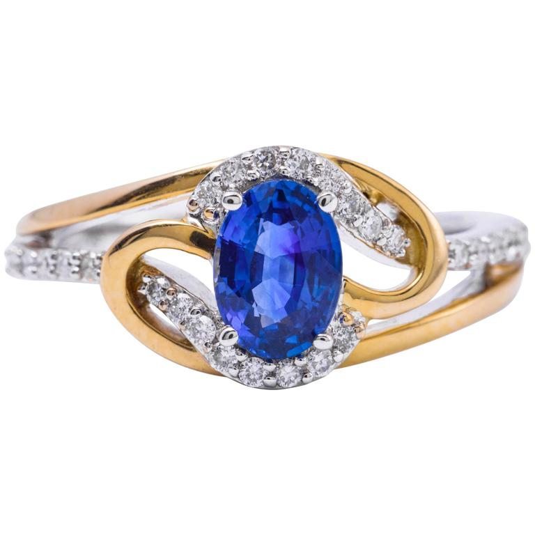 Ceylon Sapphire Diamonds White and Yellow Gold Ring For Sale