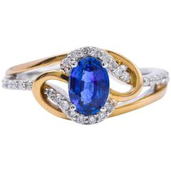 Ceylon Sapphire Diamonds White and Yellow Gold Ring