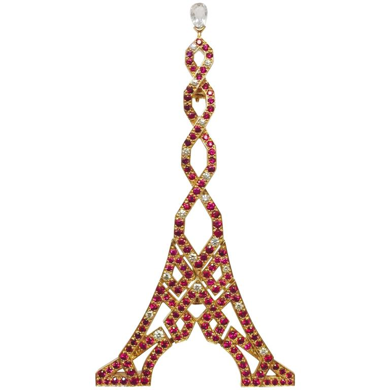 Boucheron Ruby Diamond Gold Eiffel Tower Brooch 1