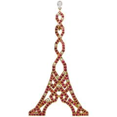 Boucheron Ruby Diamond Gold Eiffel Tower Brooch
