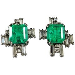 18.8 Carat Colombian Emerald Diamond Platinum Earrings Art Deco Style