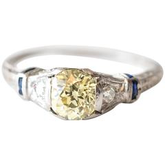 1920s Art Deco GIA Certified 1.03 Carat Fancy Yellow Diamond Platinum Ring