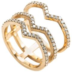 Elisabeth, White Diamond Gold Three-Bar Kiss Ring