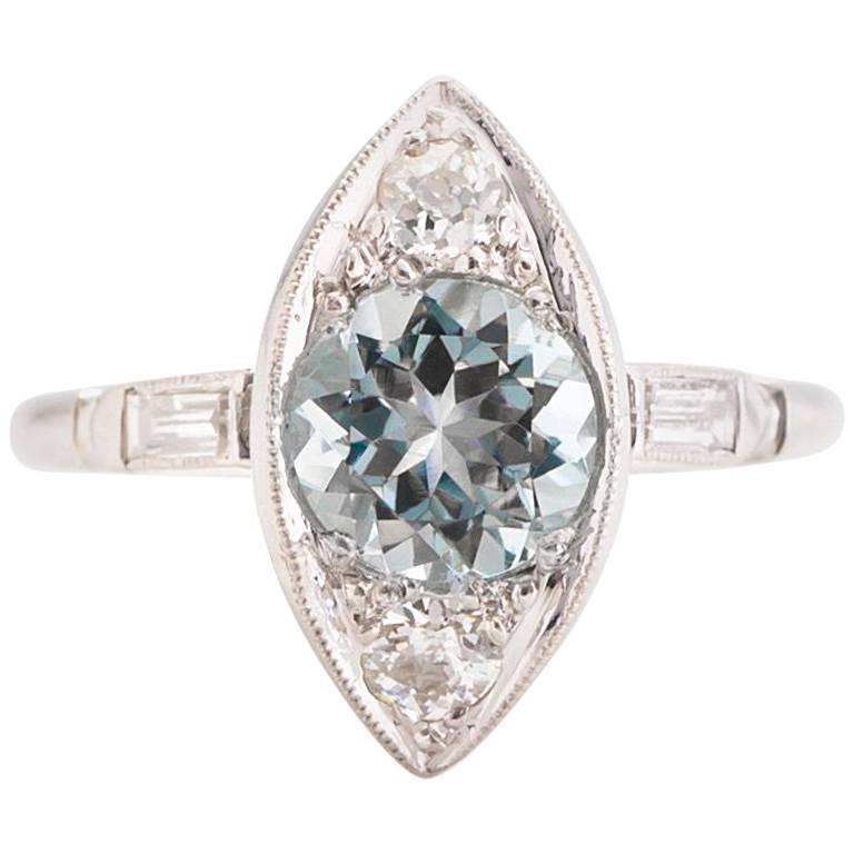 1940s 1 30 carat aquamarine european cut