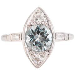 1940s  1.30 Carat Aquamarine Old European Cut Round Platinum Engagement Ring