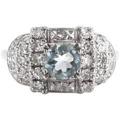 1930s Art Deco 1.00 Carat Natural Aquamarine White Gold Engagement Ring